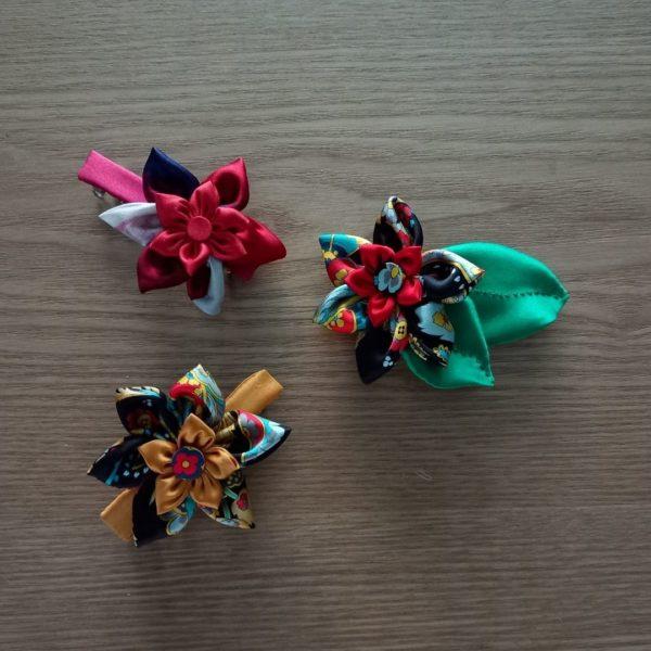 barrettes cheveux ornées fleurs kansashi soie
